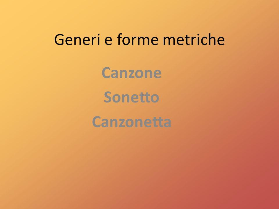 Generi e forme metriche Canzone Sonetto Canzonetta