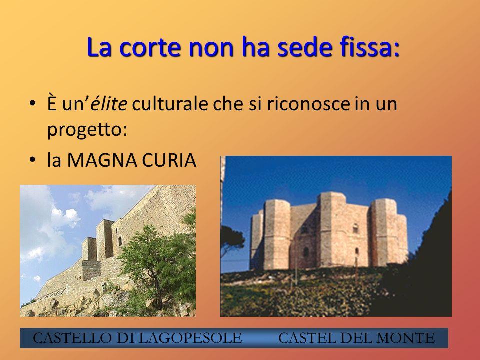 La corte non ha sede fissa: È unélite culturale che si riconosce in un progetto: la MAGNA CURIA CASTELLO DI LAGOPESOLE CASTEL DEL MONTE