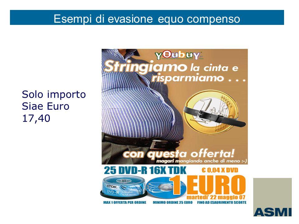 Solo importo Siae Euro 17,40 Esempi di evasione equo compenso