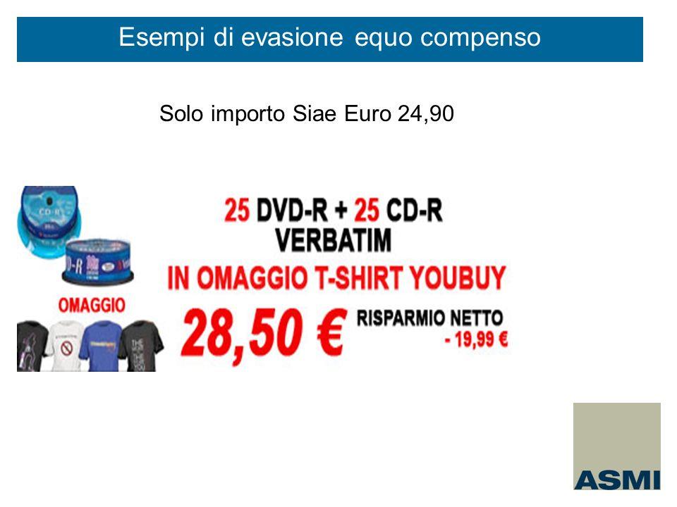 Solo importo Siae Euro 24,90 Esempi di evasione equo compenso