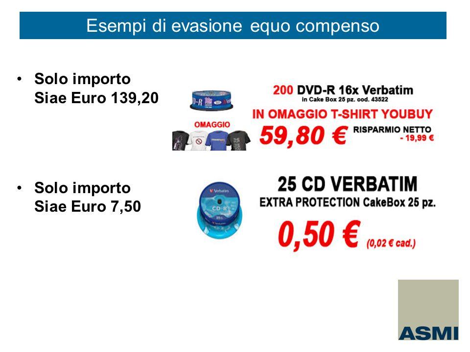 Solo importo Siae Euro 139,20 Solo importo Siae Euro 7,50 Esempi di evasione equo compenso