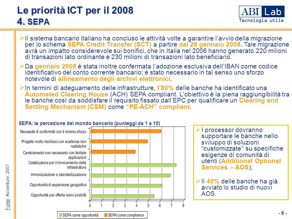- 6 - Le priorità ICT per il 2008 4. SEPA Il sistema bancario italiano ha concluso le attività volte a garantire lavvio della migrazione per lo schema