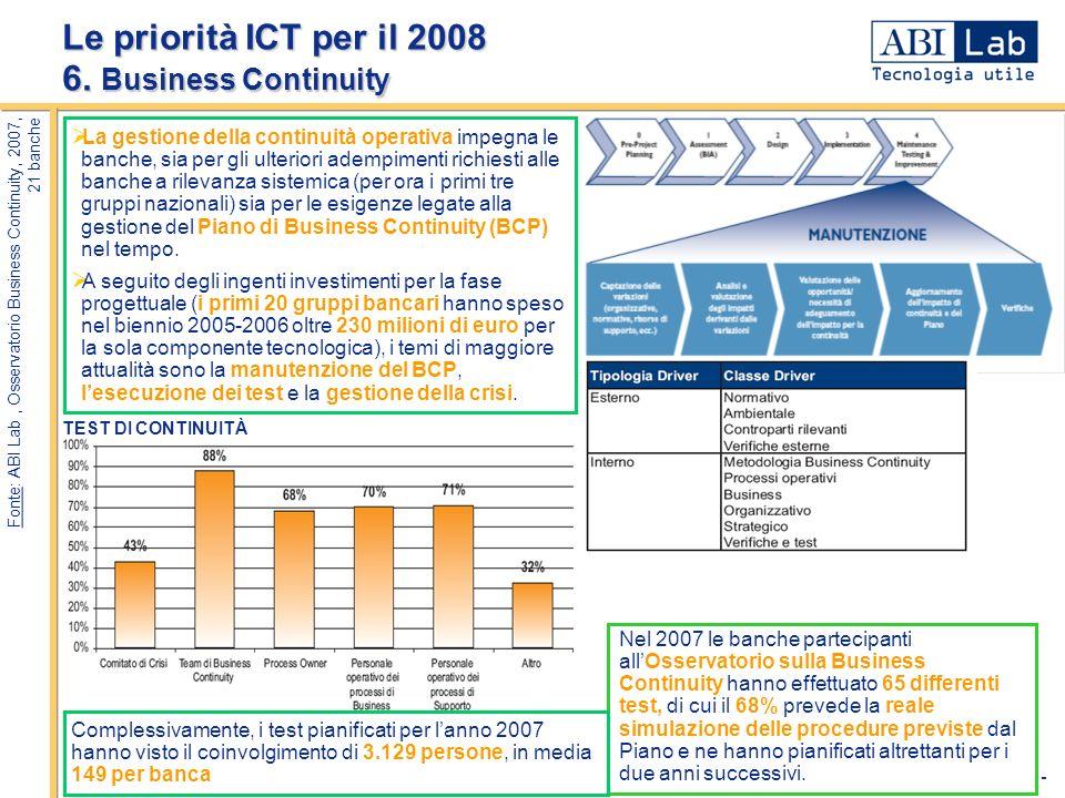 - 8 - Le priorità ICT per il 2008 6. Business Continuity Fonte: ABI Lab, Osservatorio Business Continuity, 2007, 21 banche La gestione della continuit