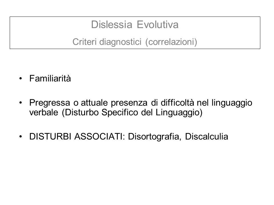 Familiarità Pregressa o attuale presenza di difficoltà nel linguaggio verbale (Disturbo Specifico del Linguaggio) DISTURBI ASSOCIATI: Disortografia, D