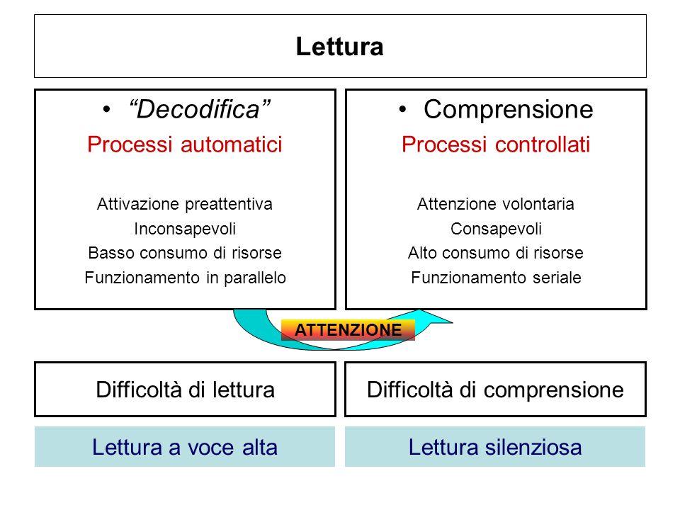 Lettura Decodifica Processi automatici Attivazione preattentiva Inconsapevoli Basso consumo di risorse Funzionamento in parallelo Comprensione Process