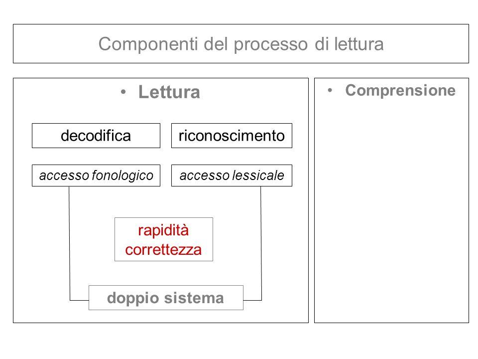 Componenti del processo di lettura Lettura Comprensione decodificariconoscimento accesso fonologicoaccesso lessicale rapidità correttezza doppio siste