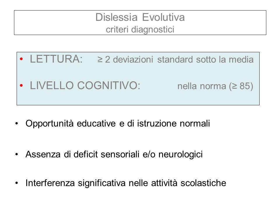 Dislessia Evolutiva criteri diagnostici LETTURA: 2 deviazioni standard sotto la media LIVELLO COGNITIVO: nella norma ( 85) Opportunità educative e di