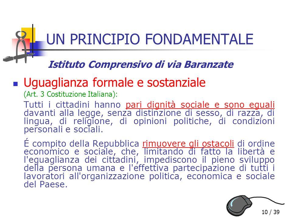 10 / 39 UN PRINCIPIO FONDAMENTALE Uguaglianza formale e sostanziale (Art. 3 Costituzione Italiana): Tutti i cittadini hanno pari dignità sociale e son