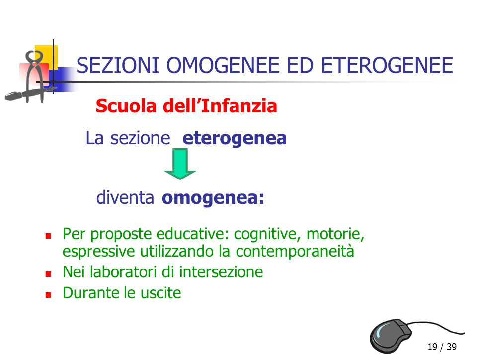 19 / 39 SEZIONI OMOGENEE ED ETEROGENEE La sezione eterogenea diventa omogenea: Per proposte educative: cognitive, motorie, espressive utilizzando la c