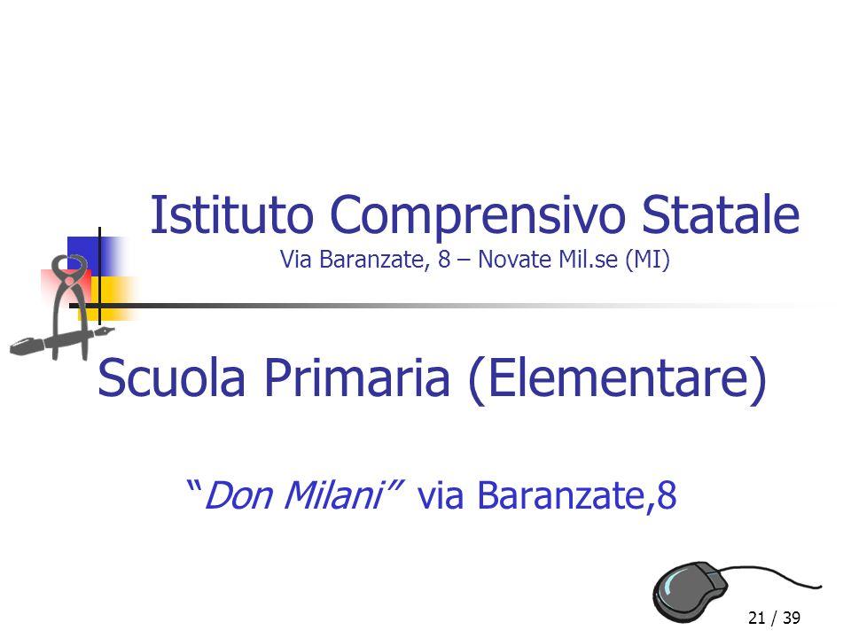 21 / 39 Istituto Comprensivo Statale Via Baranzate, 8 – Novate Mil.se (MI) Scuola Primaria (Elementare) Don Milani via Baranzate,8