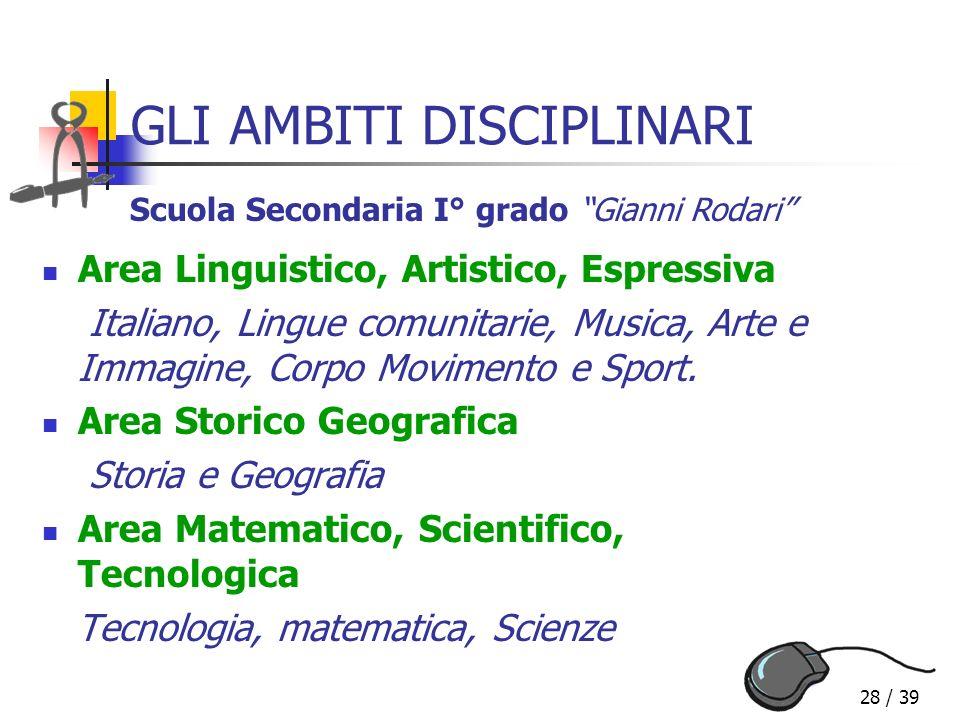 28 / 39 GLI AMBITI DISCIPLINARI Area Linguistico, Artistico, Espressiva Italiano, Lingue comunitarie, Musica, Arte e Immagine, Corpo Movimento e Sport