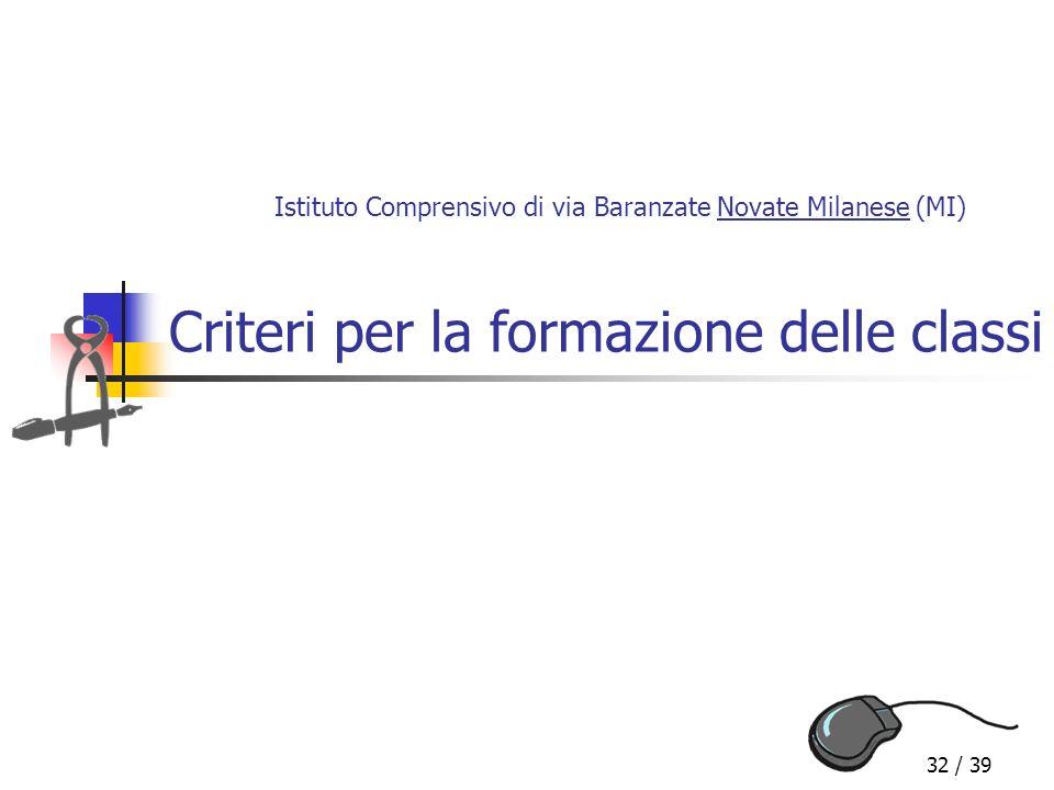 32 / 39 Criteri per la formazione delle classi Istituto Comprensivo di via Baranzate Novate Milanese (MI)