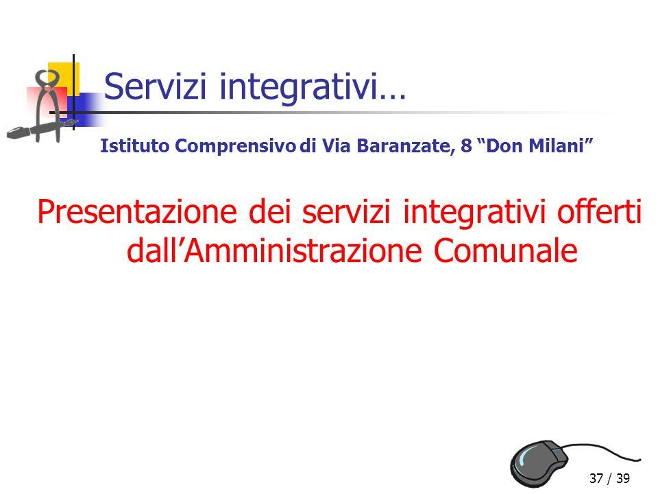 37 / 39 Servizi integrativi… Presentazione dei servizi integrativi offerti dallAmministrazione Comunale Istituto Comprensivo di Via Baranzate, 8 Don M