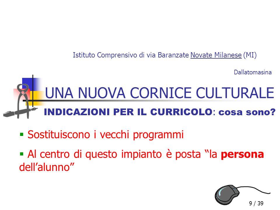 9 / 39 UNA NUOVA CORNICE CULTURALE INDICAZIONI PER IL CURRICOLO : cosa sono? Istituto Comprensivo di via Baranzate Novate Milanese (MI) Sostituiscono