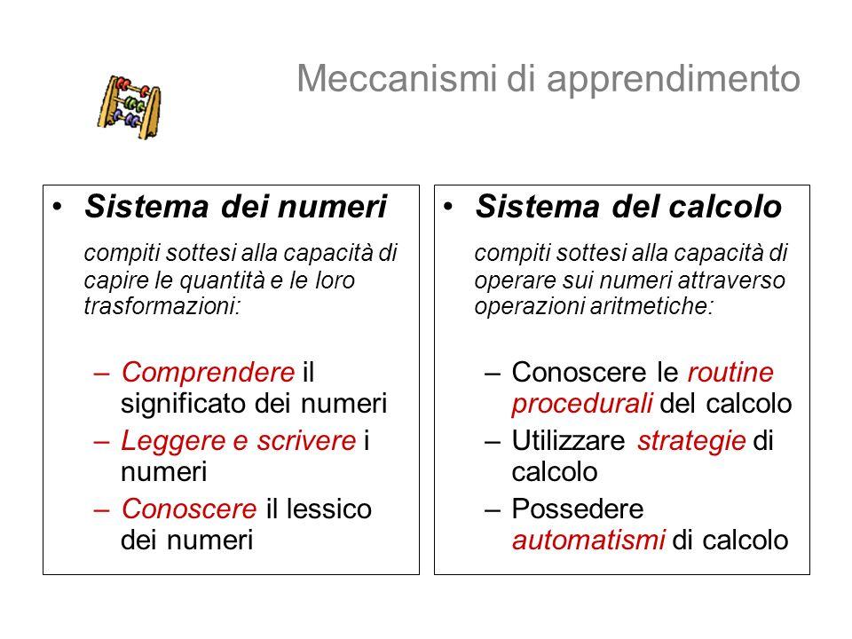 Meccanismi di apprendimento Sistema dei numeri compiti sottesi alla capacità di capire le quantità e le loro trasformazioni: –Comprendere il significa