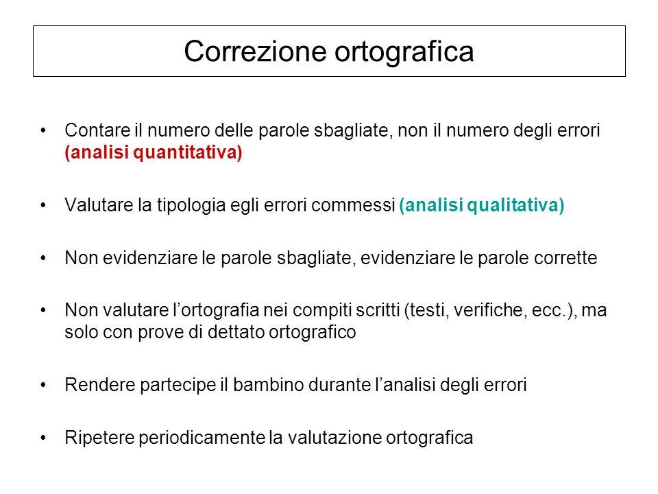 Correzione ortografica Contare il numero delle parole sbagliate, non il numero degli errori (analisi quantitativa) Valutare la tipologia egli errori c