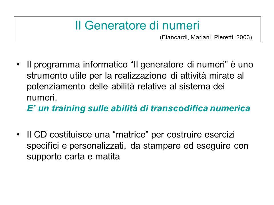 Il programma informatico Il generatore di numeri è uno strumento utile per la realizzazione di attività mirate al potenziamento delle abilità relative