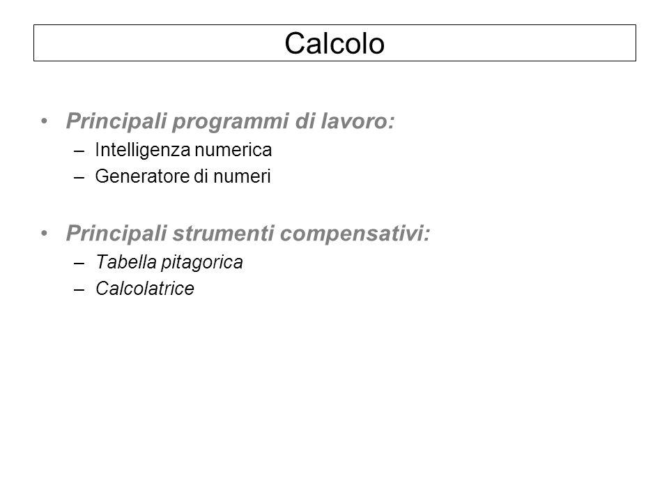 Calcolo Principali programmi di lavoro: –Intelligenza numerica –Generatore di numeri Principali strumenti compensativi: –Tabella pitagorica –Calcolatr