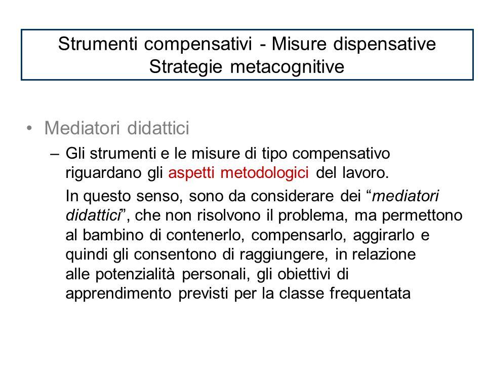 Mediatori didattici –Gli strumenti e le misure di tipo compensativo riguardano gli aspetti metodologici del lavoro.