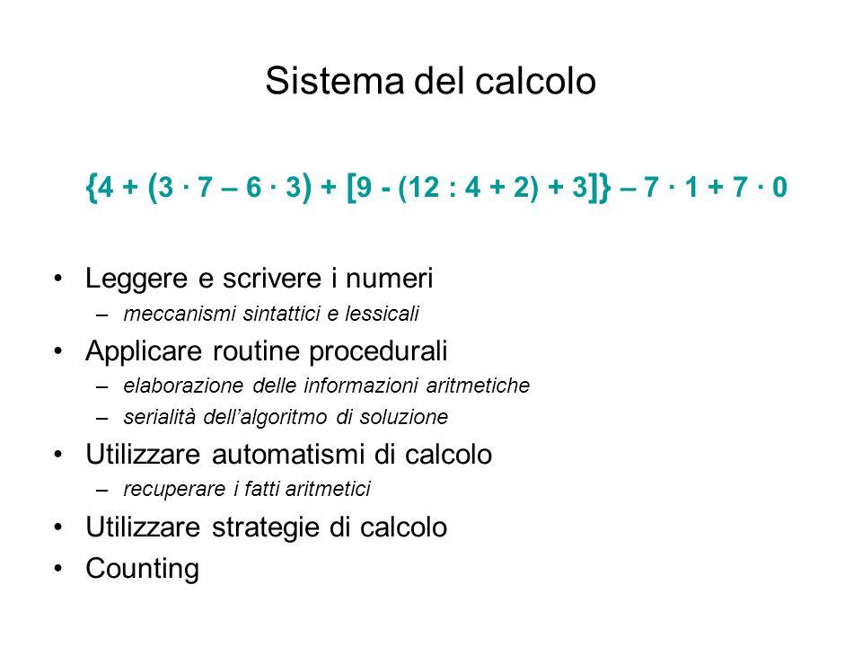 { 4 + ( 3 · 7 – 6 · 3 ) + [ 9 - (12 : 4 + 2) + 3 ]} – 7 · 1 + 7 · 0 Leggere e scrivere i numeri –meccanismi sintattici e lessicali Applicare routine p