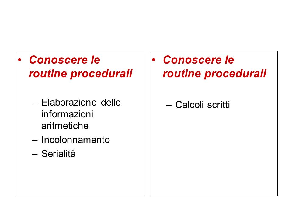 Conoscere le routine procedurali –Elaborazione delle informazioni aritmetiche –Incolonnamento –Serialità Conoscere le routine procedurali –Calcoli scr