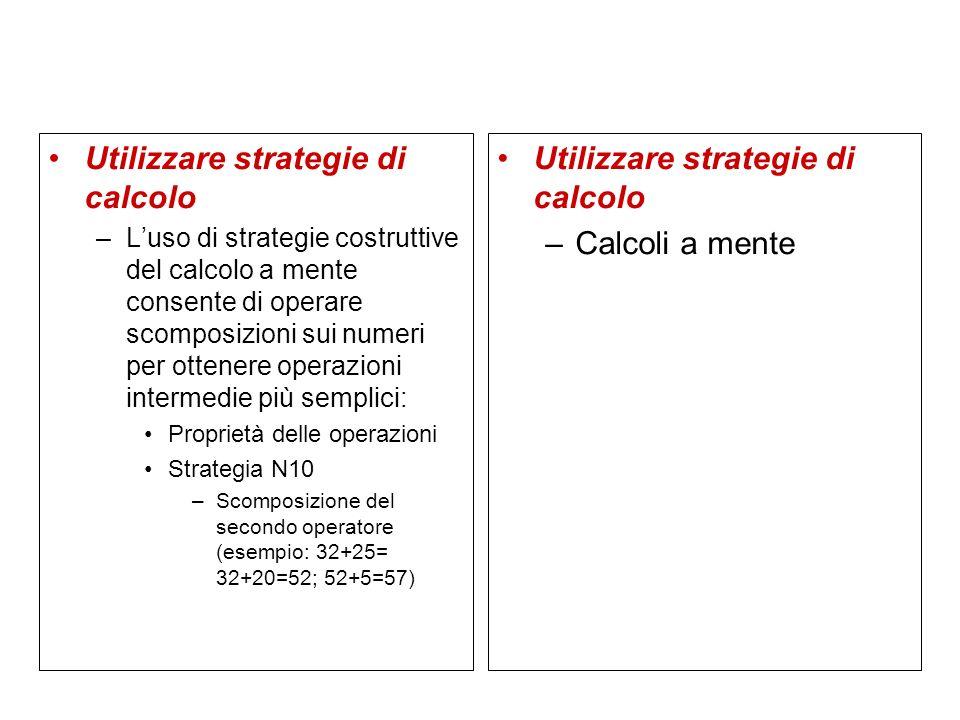 Utilizzare strategie di calcolo –Luso di strategie costruttive del calcolo a mente consente di operare scomposizioni sui numeri per ottenere operazion