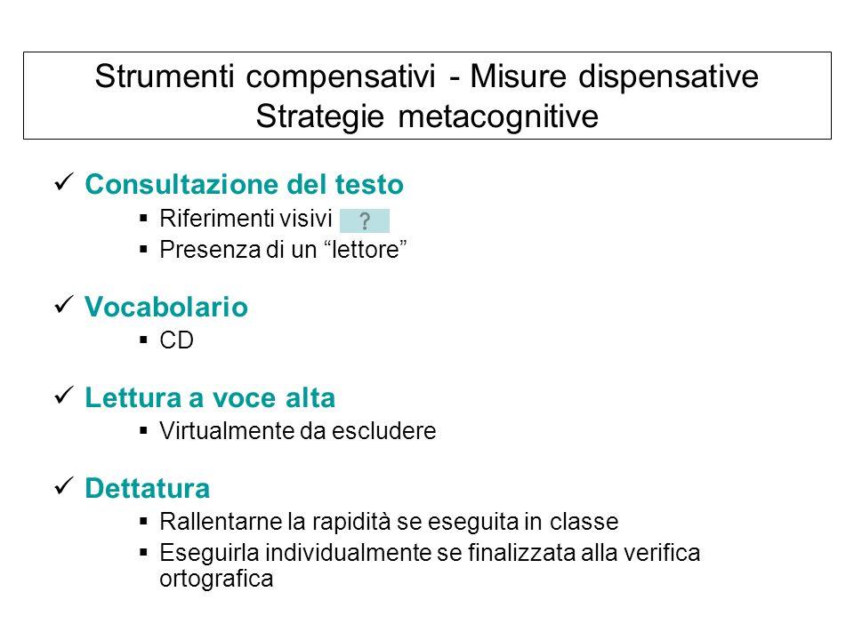 Strumenti compensativi - Misure dispensative Strategie metacognitive Consultazione del testo Riferimenti visivi Presenza di un lettore Vocabolario CD