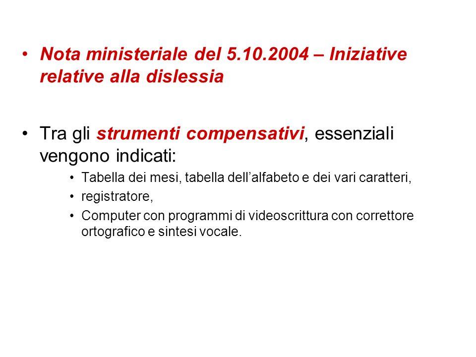 Nota ministeriale del 5.10.2004 – Iniziative relative alla dislessia Tra gli strumenti compensativi, essenziali vengono indicati: Tabella dei mesi, ta