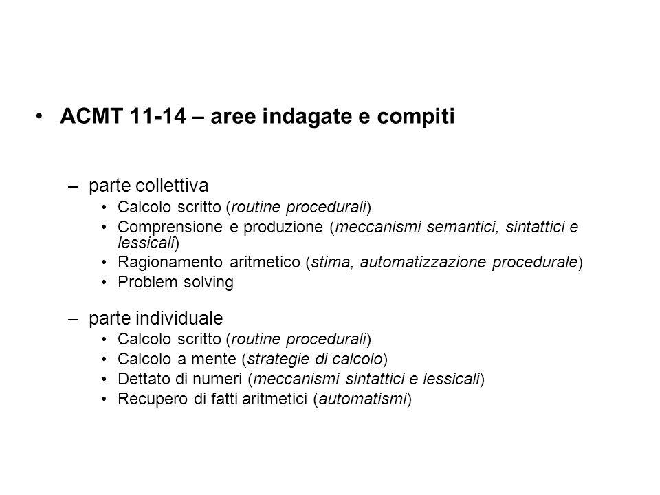 ACMT 11-14 – aree indagate e compiti –parte collettiva Calcolo scritto (routine procedurali) Comprensione e produzione (meccanismi semantici, sintattici e lessicali) Ragionamento aritmetico (stima, automatizzazione procedurale) Problem solving –parte individuale Calcolo scritto (routine procedurali) Calcolo a mente (strategie di calcolo) Dettato di numeri (meccanismi sintattici e lessicali) Recupero di fatti aritmetici (automatismi)