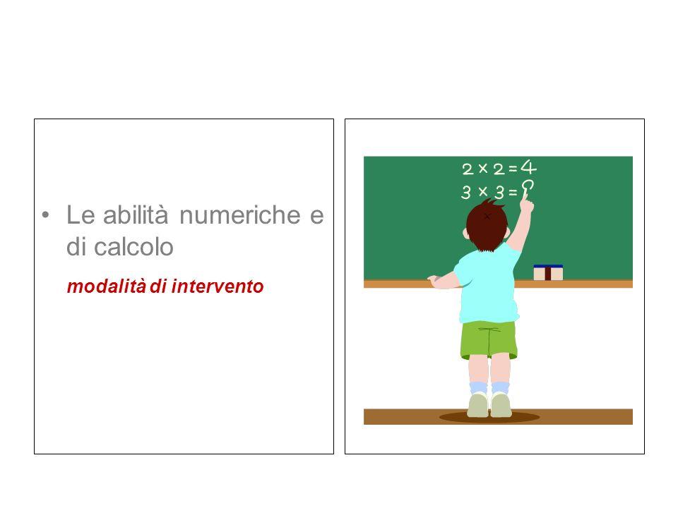 Le abilità numeriche e di calcolo modalità di intervento