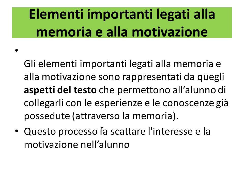Elementi importanti legati alla memoria e alla motivazione Gli elementi importanti legati alla memoria e alla motivazione sono rappresentati da quegli aspetti del testo che permettono allalunno di collegarli con le esperienze e le conoscenze già possedute (attraverso la memoria).