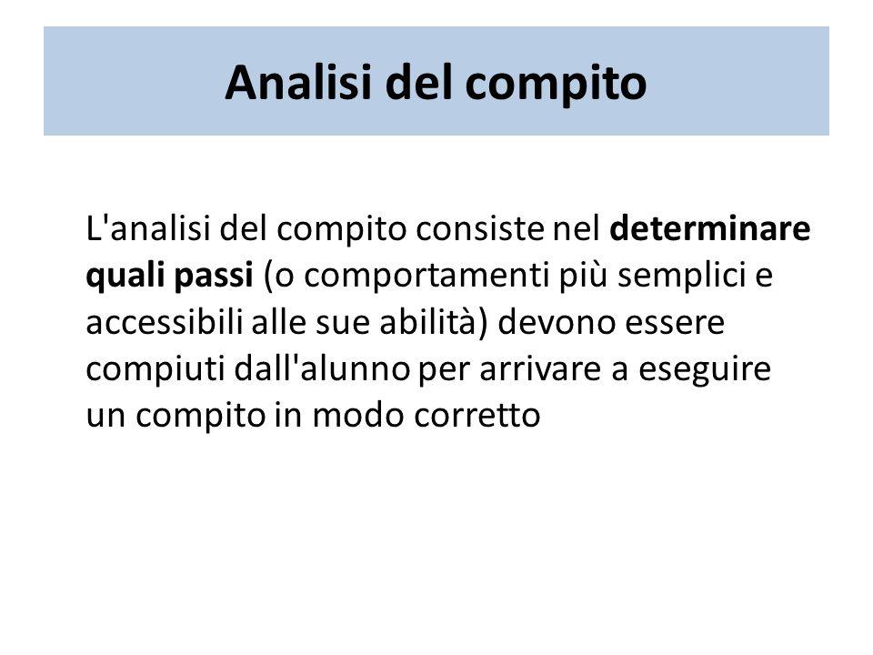 Analisi del compito L analisi del compito consiste nel determinare quali passi (o comportamenti più semplici e accessibili alle sue abilità) devono essere compiuti dall alunno per arrivare a eseguire un compito in modo corretto