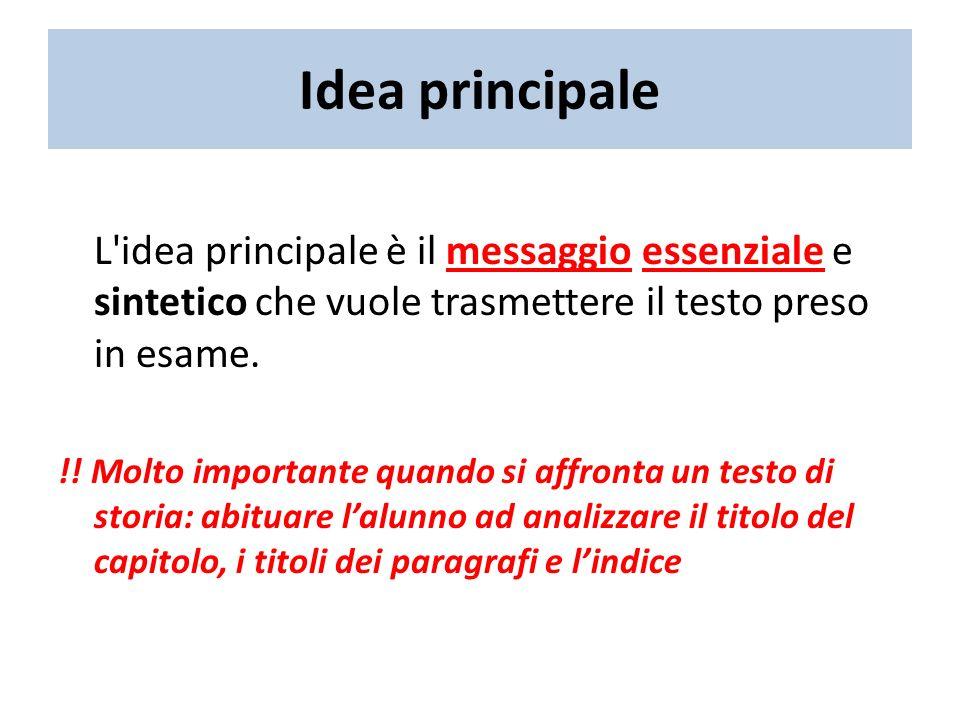 Idea principale L idea principale è il messaggio essenziale e sintetico che vuole trasmettere il testo preso in esame.