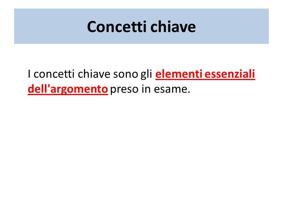 Concetti chiave I concetti chiave sono gli elementi essenziali dell argomento preso in esame.