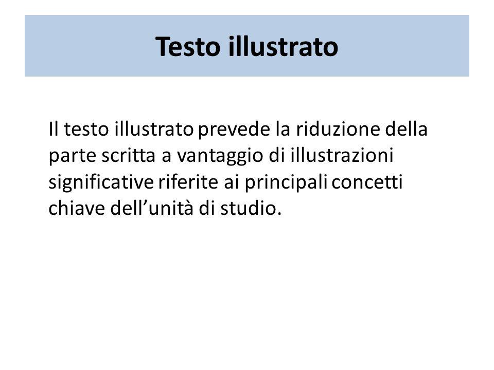 Testo illustrato Il testo illustrato prevede la riduzione della parte scritta a vantaggio di illustrazioni significative riferite ai principali concetti chiave dellunità di studio.
