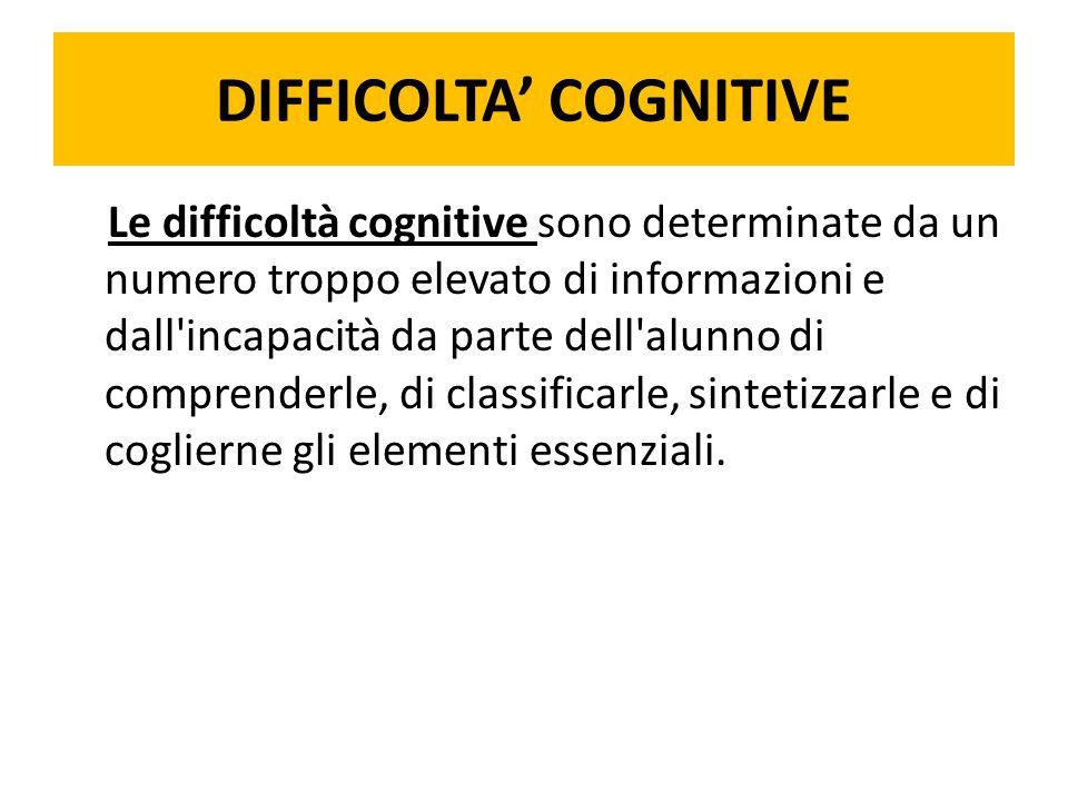 DIFFICOLTA COGNITIVE Le difficoltà cognitive sono determinate da un numero troppo elevato di informazioni e dall incapacità da parte dell alunno di comprenderle, di classificarle, sintetizzarle e di coglierne gli elementi essenziali.
