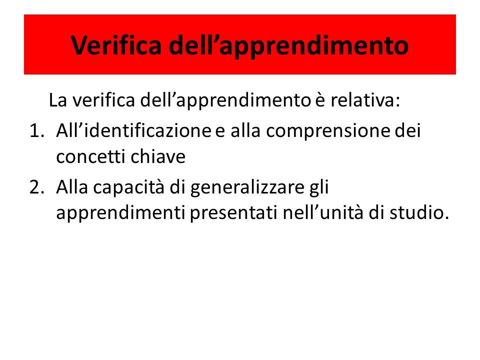 Verifica dellapprendimento La verifica dellapprendimento è relativa: 1.Allidentificazione e alla comprensione dei concetti chiave 2.Alla capacità di generalizzare gli apprendimenti presentati nellunità di studio.