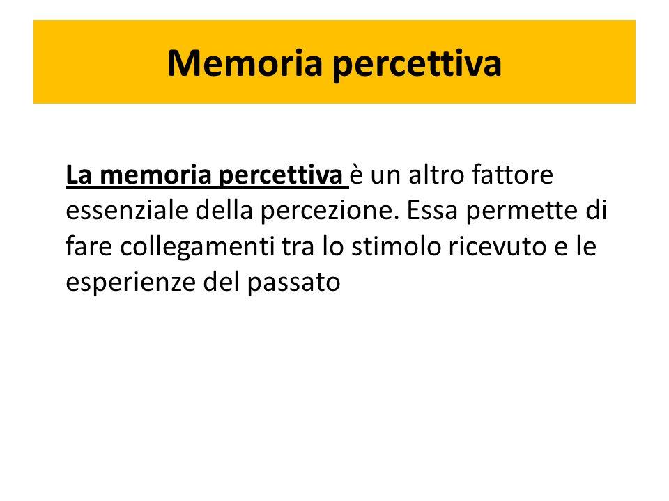Memoria percettiva La memoria percettiva è un altro fattore essenziale della percezione.