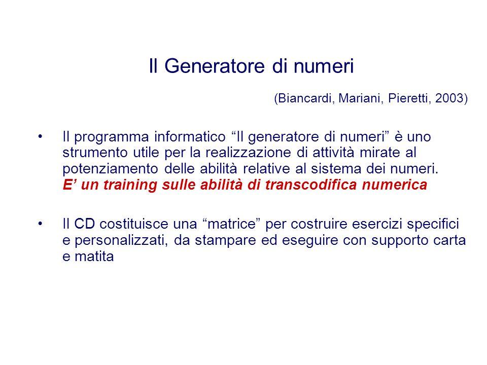 Il programma informatico Il generatore di numeri è uno strumento utile per la realizzazione di attività mirate al potenziamento delle abilità relative al sistema dei numeri.