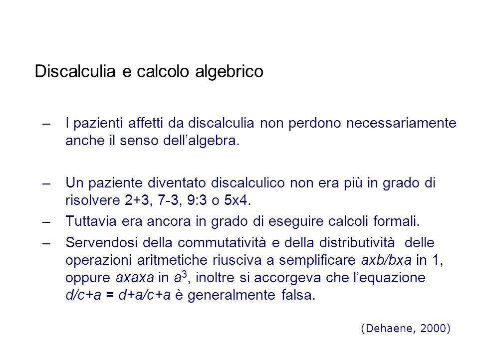 Discalculia e calcolo algebrico –I pazienti affetti da discalculia non perdono necessariamente anche il senso dellalgebra.