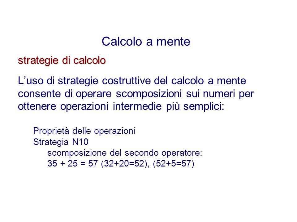strategie di calcolo Luso di strategie costruttive del calcolo a mente consente di operare scomposizioni sui numeri per ottenere operazioni intermedie più semplici: Proprietà delle operazioni Strategia N10 scomposizione del secondo operatore: 35 + 25 = 57 (32+20=52), (52+5=57) Calcolo a mente