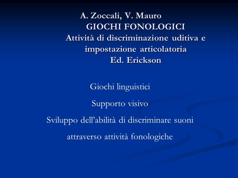 Giochi linguistici Supporto visivo Sviluppo dellabilità di discriminare suoni attraverso attività fonologiche A. Zoccali, V. Mauro GIOCHI FONOLOGICI A