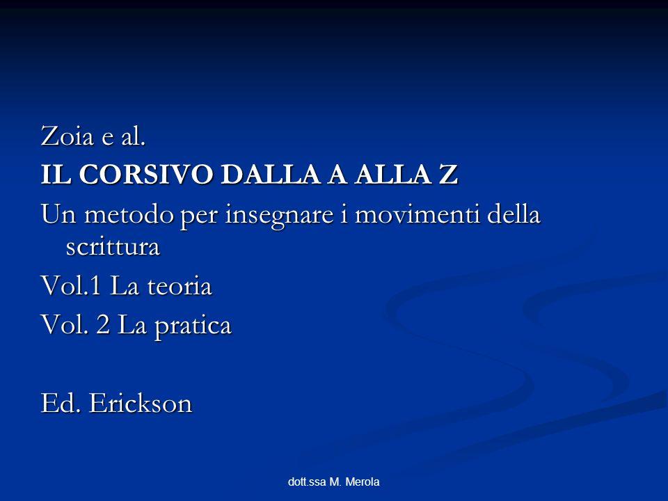 dott.ssa M. Merola Zoia e al. IL CORSIVO DALLA A ALLA Z Un metodo per insegnare i movimenti della scrittura Vol.1 La teoria Vol. 2 La pratica Ed. Eric
