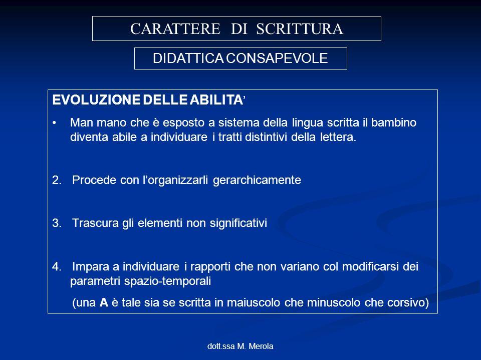 dott.ssa M. Merola CARATTERE DI SCRITTURA DIDATTICA CONSAPEVOLE EVOLUZIONE DELLE ABILITA Man mano che è esposto a sistema della lingua scritta il bamb