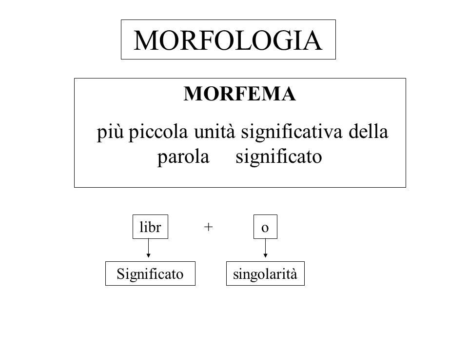MORFOLOGIA MORFEMA più piccola unità significativa della parola significato libr + o Significatosingolarità