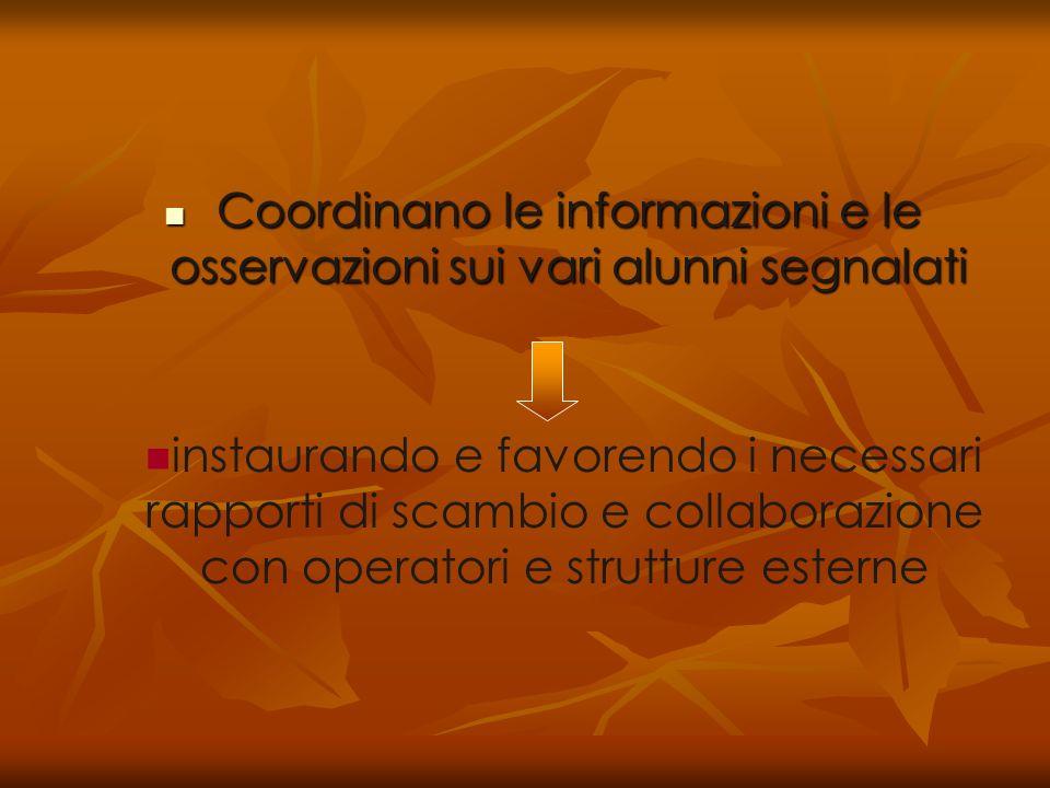 Coordinano le informazioni e le osservazioni sui vari alunni segnalati Coordinano le informazioni e le osservazioni sui vari alunni segnalati instaura
