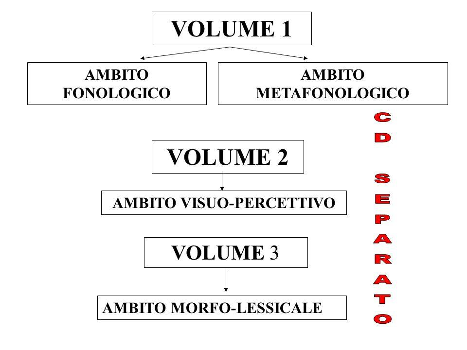 VOLUME 1 AMBITO FONOLOGICO AMBITO METAFONOLOGICO VOLUME 3 AMBITO MORFO-LESSICALE VOLUME 2 AMBITO VISUO-PERCETTIVO