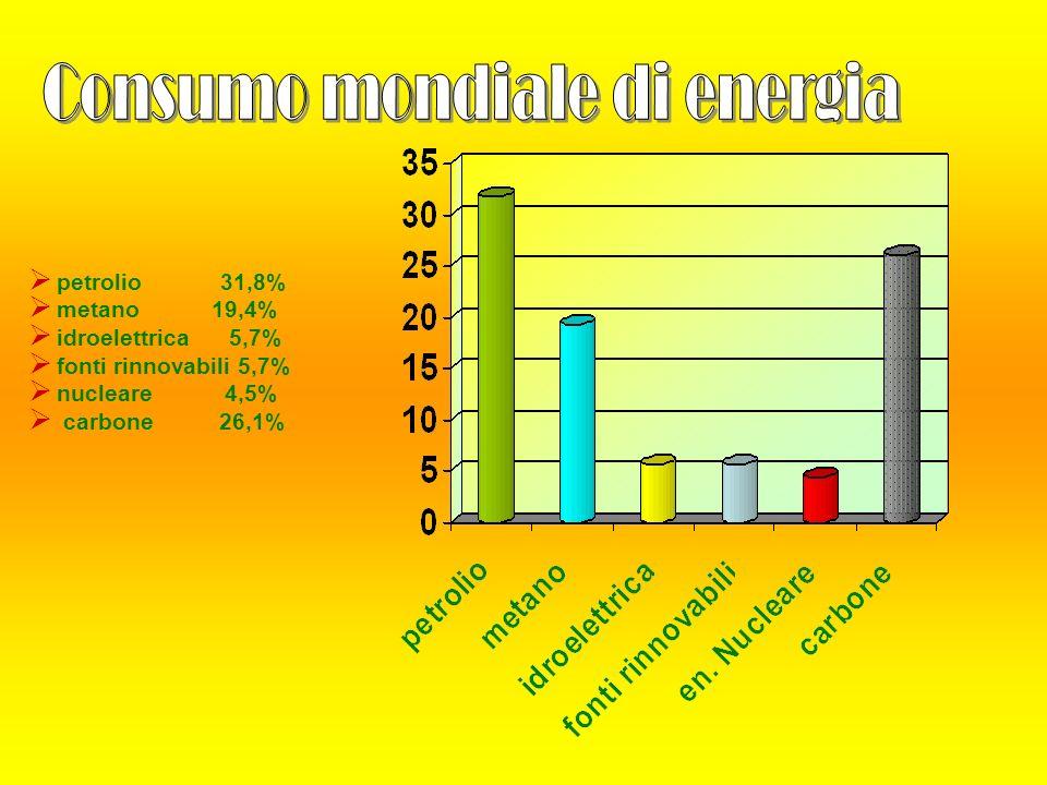 petrolio 31,8% metano 19,4% idroelettrica 5,7% fonti rinnovabili 5,7% nucleare 4,5% carbone 26,1%