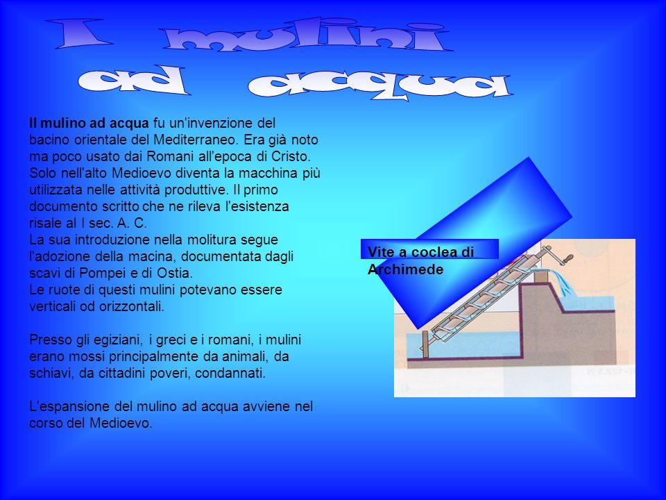 Il mulino ad acqua fu un'invenzione del bacino orientale del Mediterraneo. Era già noto ma poco usato dai Romani all'epoca di Cristo. Solo nell'alto M