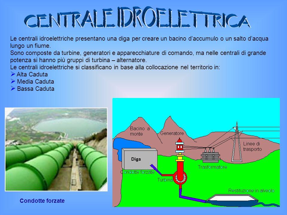 Le centrali idroelettriche presentano una diga per creare un bacino daccumulo o un salto dacqua lungo un fiume. Sono composte da turbine, generatori e